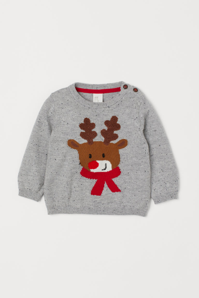 Fine-knit Sweater - Light gray melange/reindeer -  | H&M US