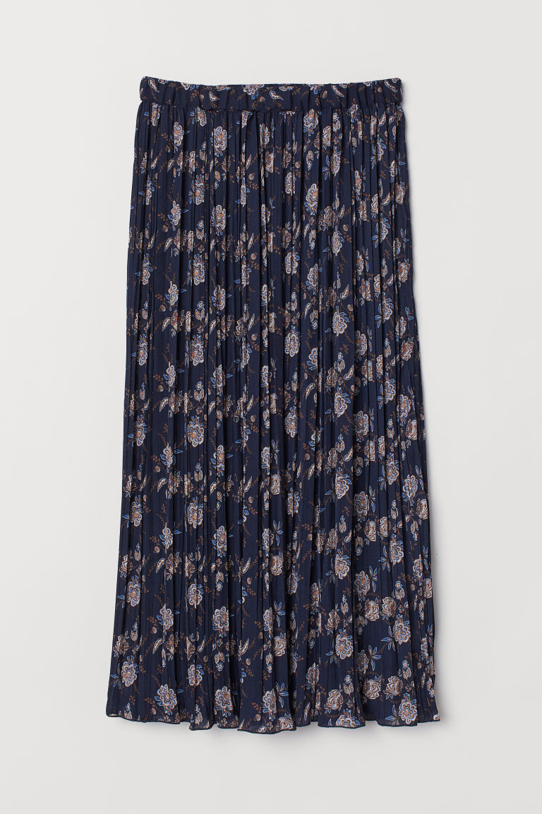 Gonna plissettata - Blu scuro/fiori - DONNA | H&M IT