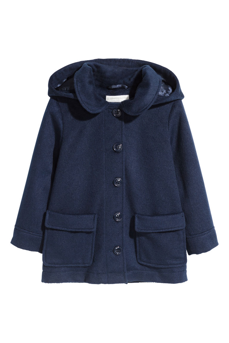 Coat with a hood - Dark blue - Kids | H&M CN