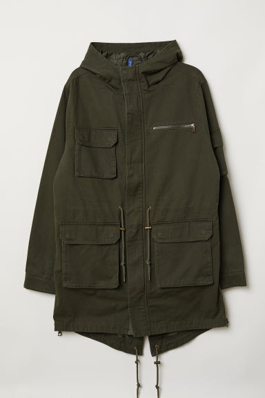 Cotton twill parka - Dark green - Men | H&M