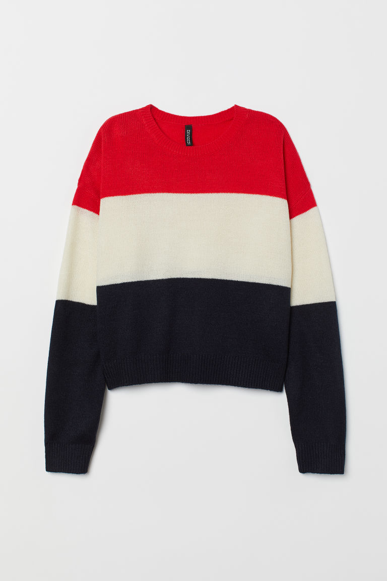 Knitted jumper - Red/Block-coloured -  | H&M CN