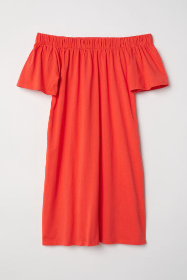 Off-the-shoulder cotton dress - Coral red - Ladies | H&M