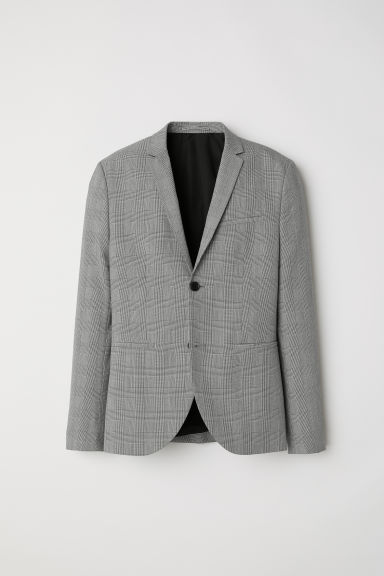 Jacket Skinny fit - Black/White checked - Men | H&M CN