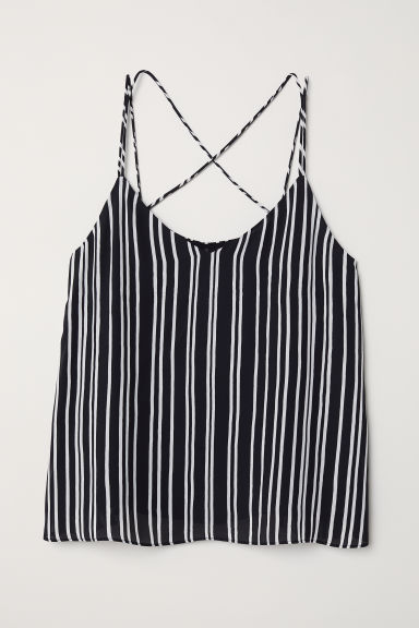 Chiffon strappy top - Black/White striped - Ladies | H&M CN