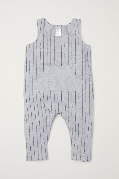 Sleeveless jersey romper - Light grey/Striped - Kids | H&M CN