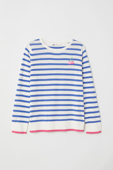 Fine-knit jumper - White/Blue striped -  | H&M