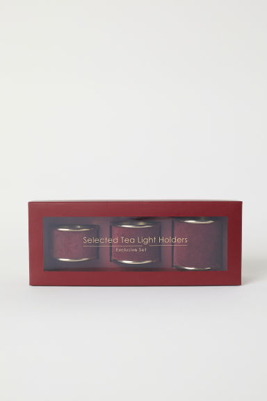 3-pack tealight holders - Burgundy - Home All | H&M CN