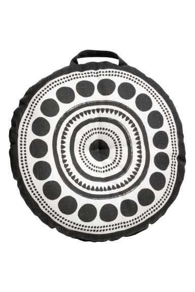 Round seat cushion - Dark grey/White patterned -  | H&M CN