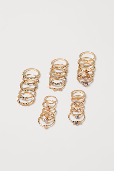 25-pack rings - Gold-coloured - Ladies | H&M