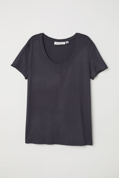 Short-sleeved top - Charcoal grey -  | H&M