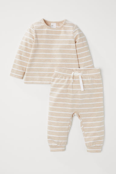 Cotton top and trousers - Beige/White striped - Kids | H&M CN