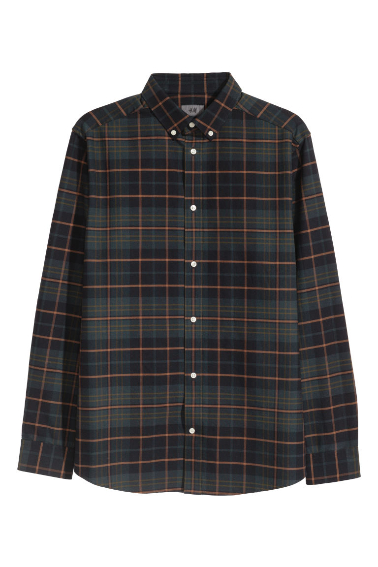 Cotton Shirt Regular fit - Dark blue/plaid - Men | H&M CA