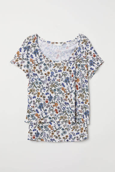 MAMA Top da allattamento - Bianco naturale/fiori - DONNA | H&M IT