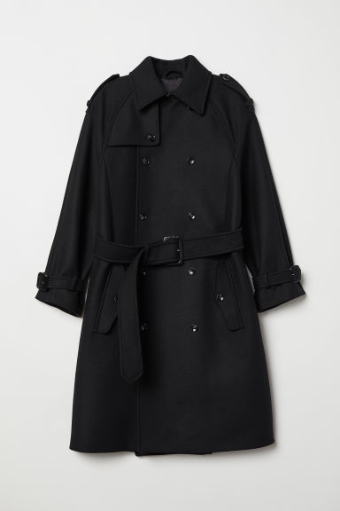 Double-breasted Wool Coat - Black -  | H&M US