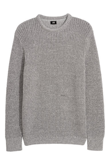Double-knitted jumper - Light grey marl -  | H&M IE