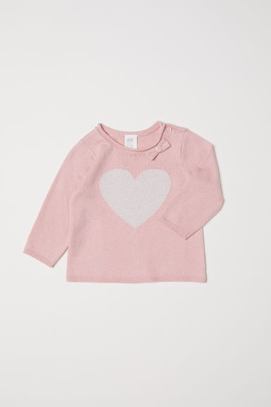 Fine-knit jumper - Light pink/Heart - Kids | H&M