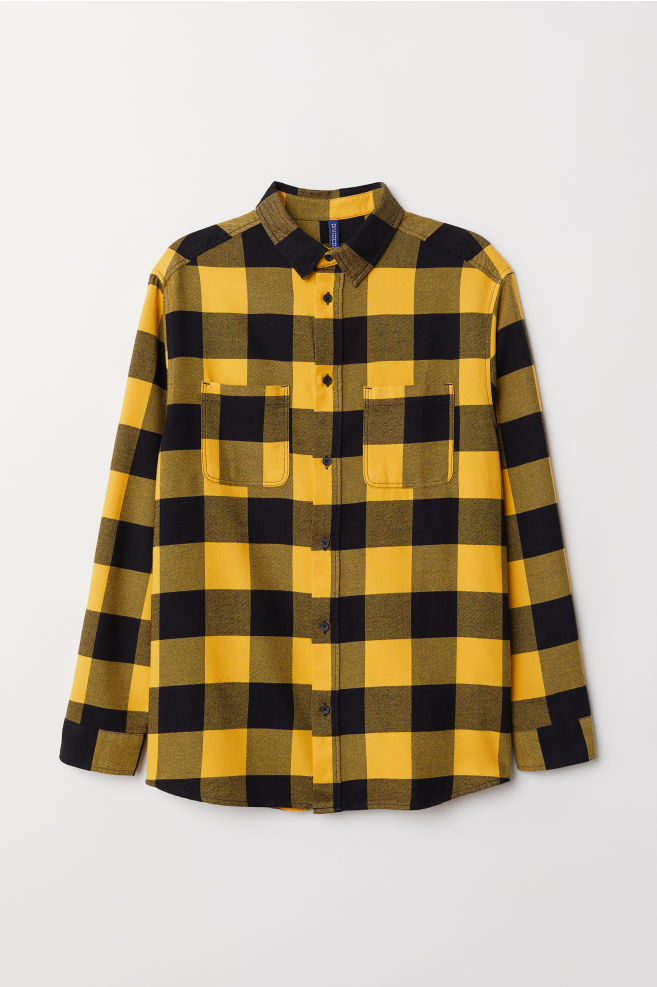 b92c40b1 Cotton Flannel Shirt - Yellow/black plaid - Men | H&M ...