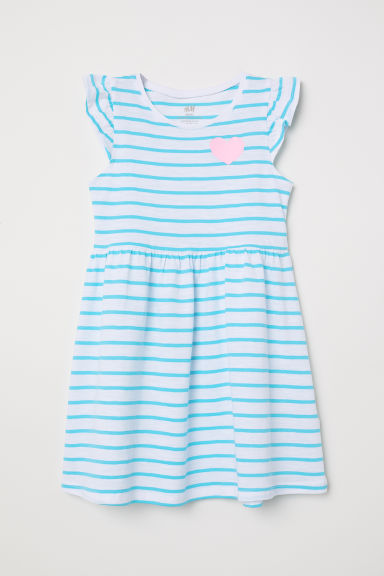 Cotton dress - White/Turquoise striped - Kids | H&M CN