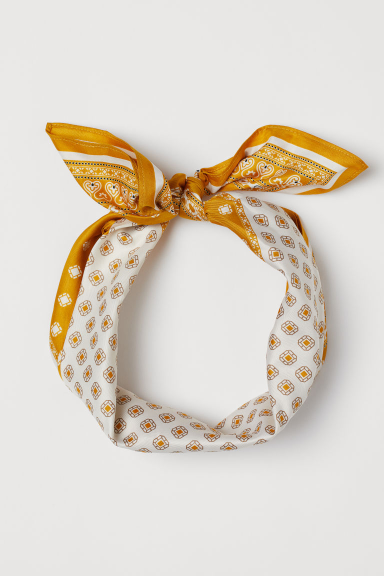 Scarf/hairband - White/yellow patterned - Ladies | H&M US