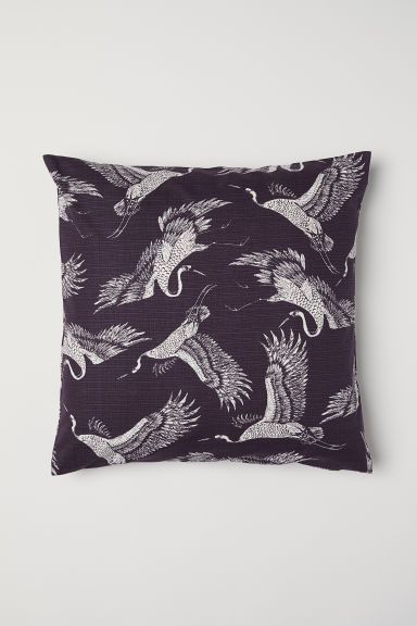 Slub-weave Cushion Cover - Dark purple/cranes - Home All | H&M CA
