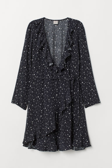 Wrap dress - Black/Stars - Ladies | H&M CN