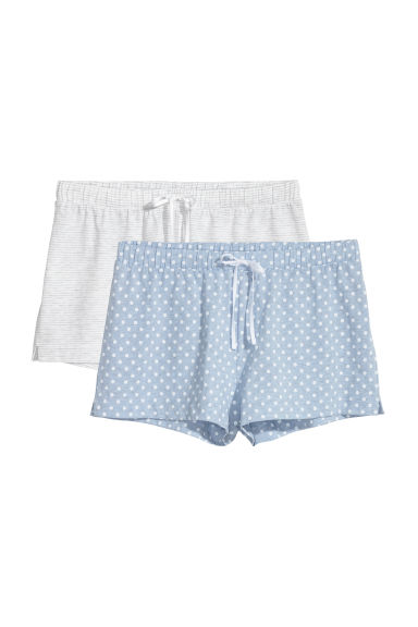 2-pack pyjama shorts - Light blue/Spotted - Ladies | H&M