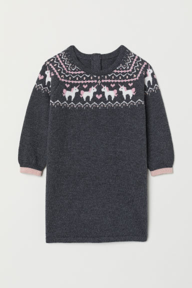 Jacquard-knit dress - Dark grey/Unicorns - Kids | H&M