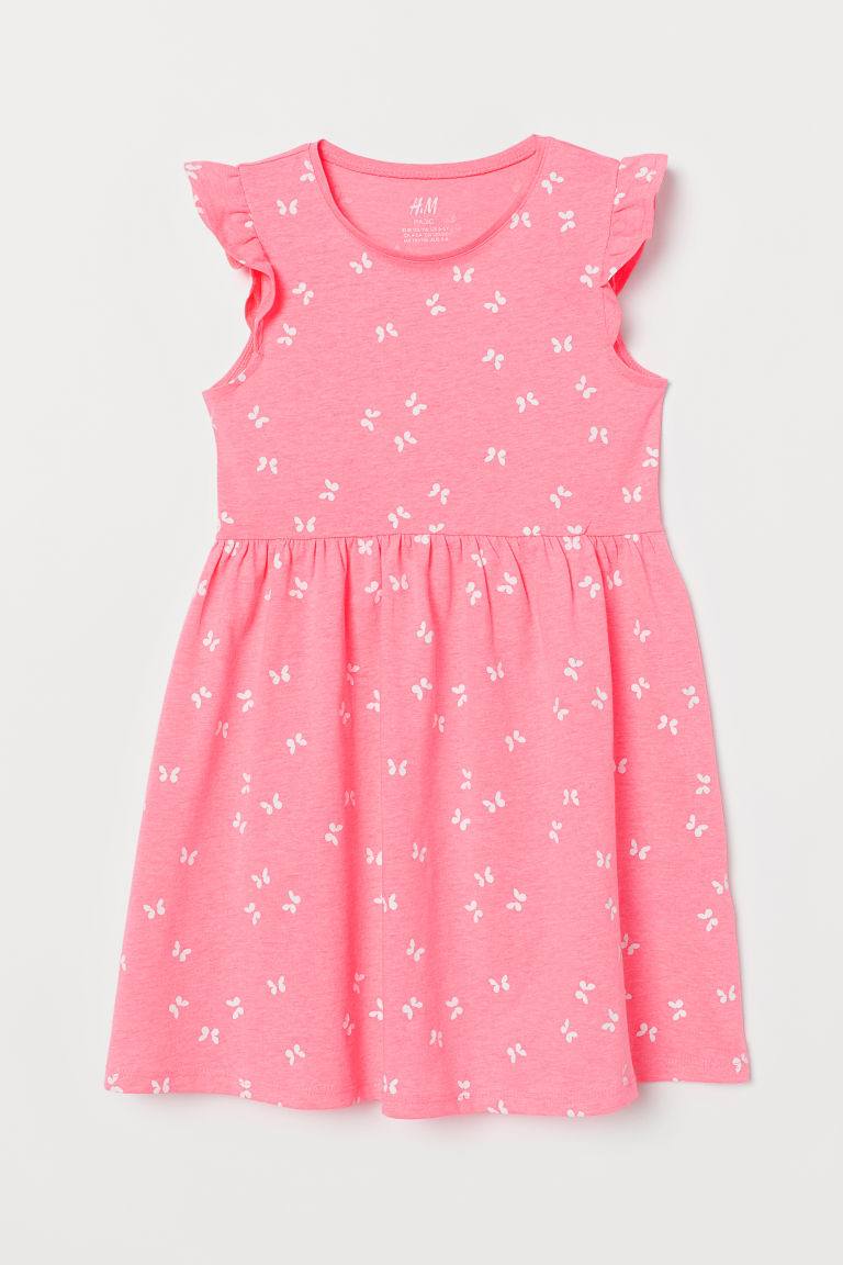Jersey dress - Neon pink/Butterflies - Kids | H&M