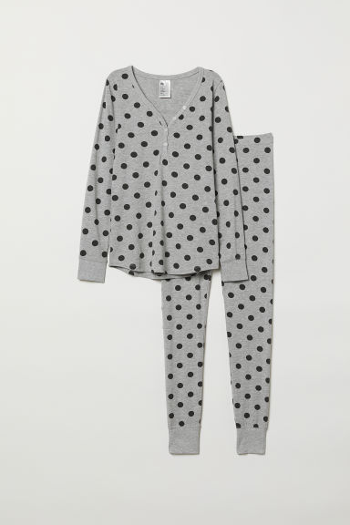 Pyjama top and leggings - Grey marl/Black spotted - Ladies | H&M