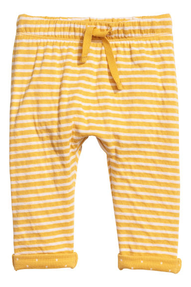 Bonded jersey trousers - Mustard yellow/Striped - Kids | H&M CN