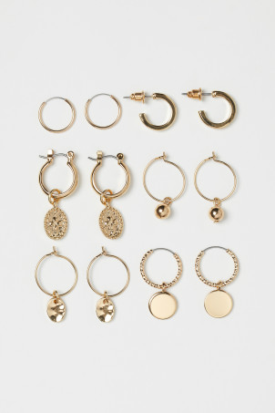 6 pairs hoop earrings