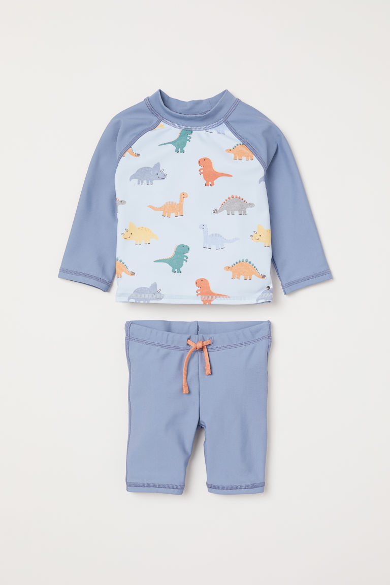 Swim set with UPF 50 - Blue-grey/Dinosaurs - Kids | H&M