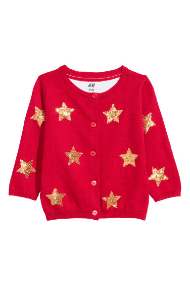 Cardigan with sequins - Red/Stars - Kids | H&M CN