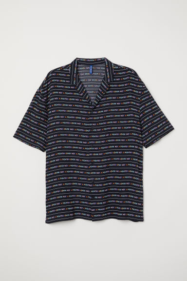 Resort Shirt with Printed Text - Black/Lover - Men | H&M CA