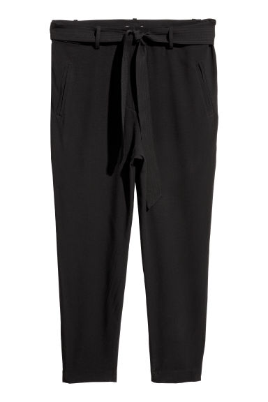 H&M+ Trousers with a tie belt - Black -  | H&M