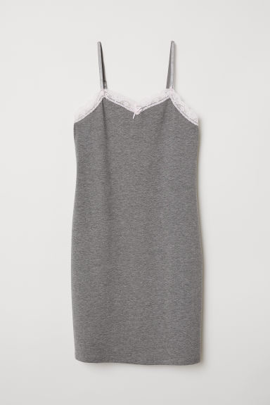 Lace-trimmed nightdress - Grey marl - Ladies | H&M CN