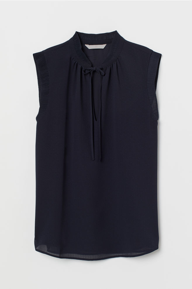 be213e1cd9a80 ... Airy Pleated-collar Blouse - Dark blue - Ladies