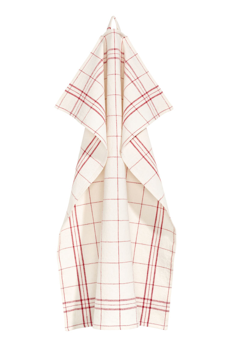 Linen-blend tea towel - Natural white/Red checked - Home All | H&M IE