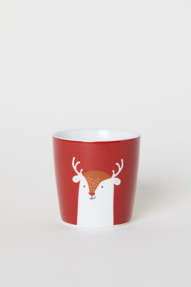 Mug with a motif - Red/Reindeer - Home All | H&M CN