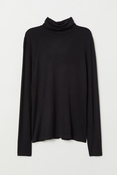 Jersey polo-neck top - Black - Ladies | H&M