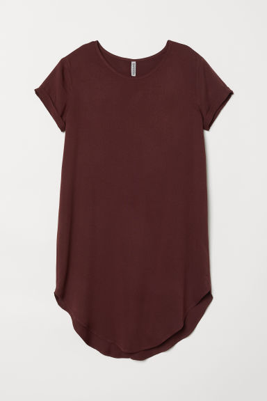 Viscose T-shirt dress - Dark red -  | H&M