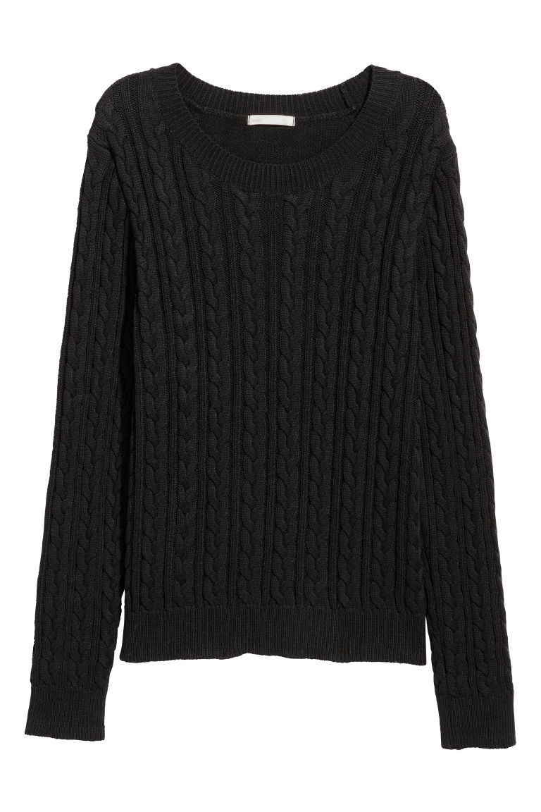 Cable-knit jumper - Black - Ladies | H&M