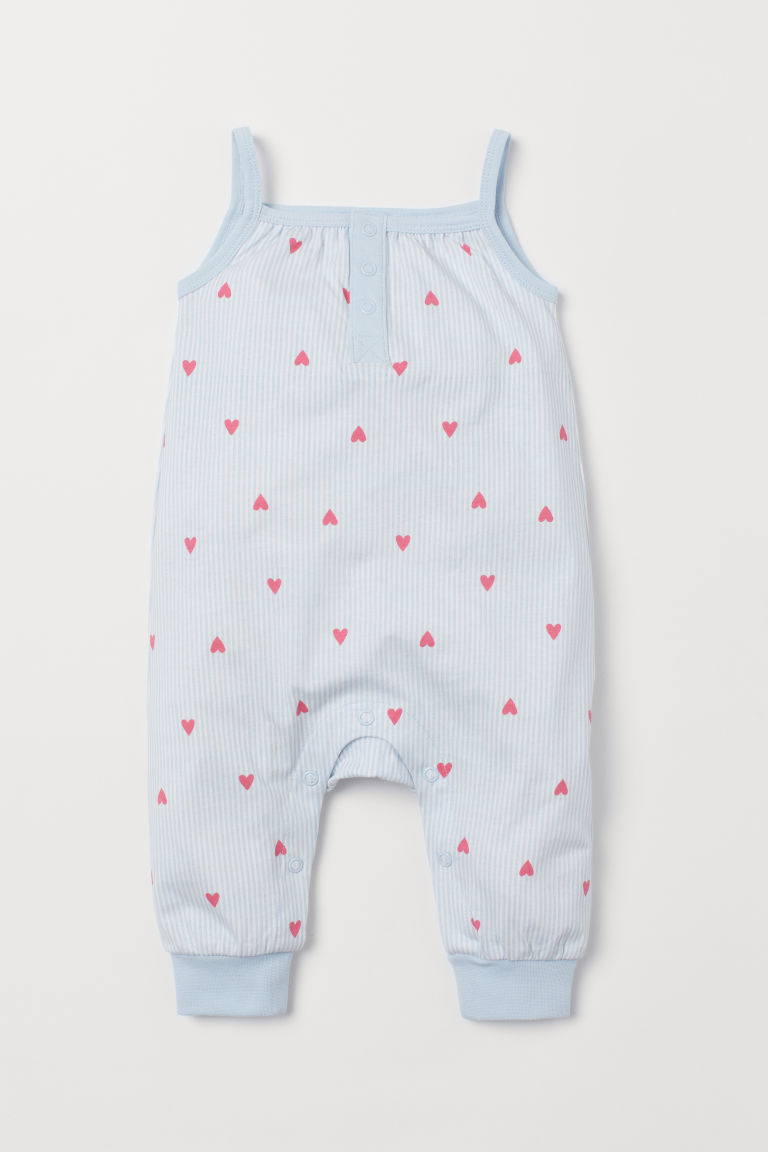 Sleeveless jersey romper - Light blue/Hearts - Kids | H&M