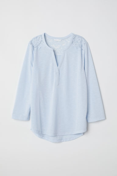 Jersey top with a lace yoke - Light blue -  | H&M CN