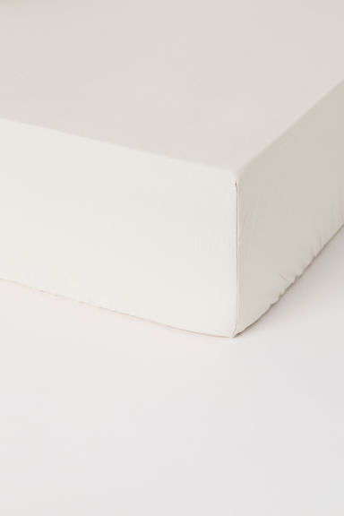 Washed cotton fitted sheet - White - Home All | H&M IE