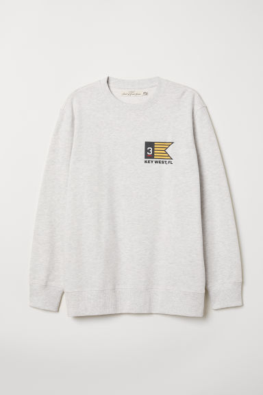 Sweatshirt with a motif - Light grey marl - Men | H&M CN