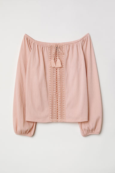 Off-the-shoulder top with lace - Old rose - Ladies | H&M CN