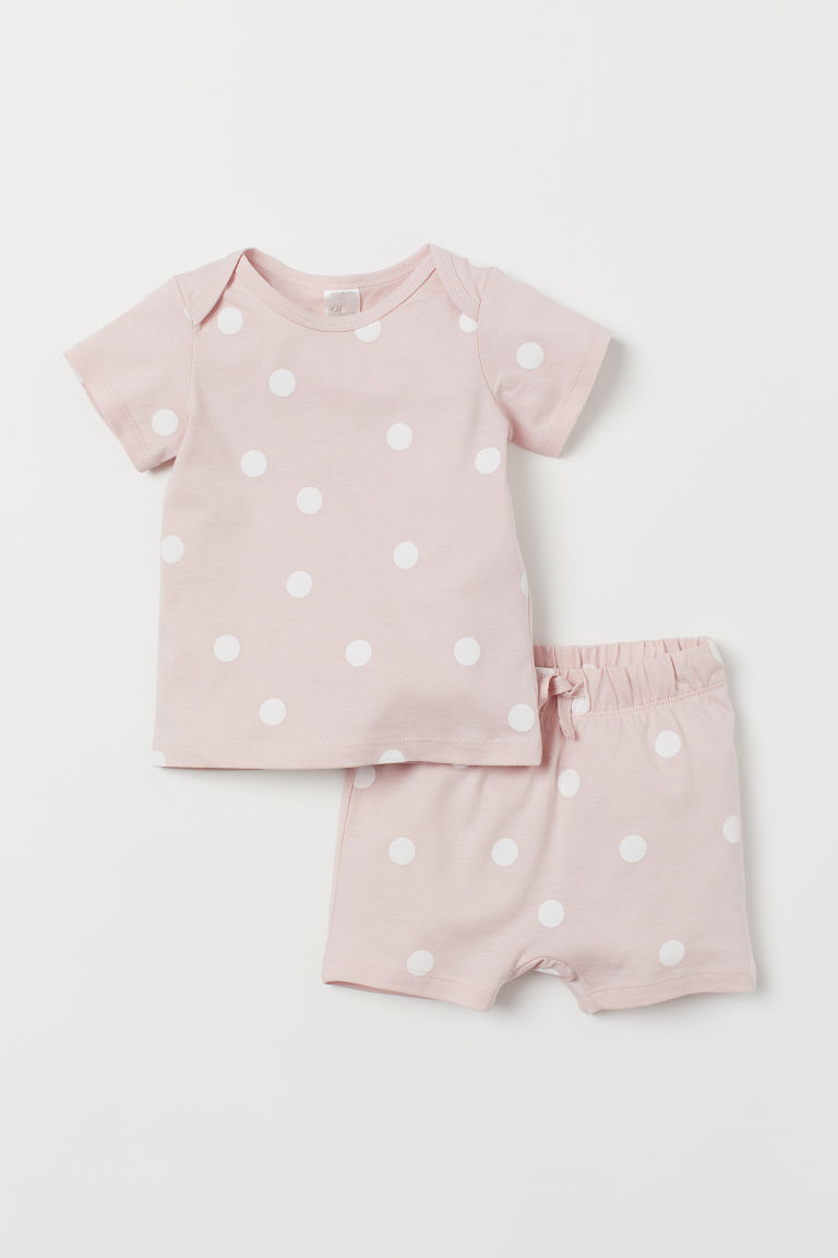 T-shirt and shorts - Light pink/Spotted - Kids | H&M