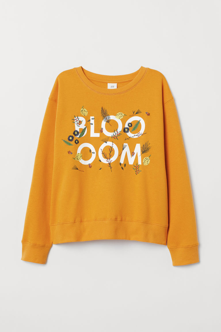 Printed sweatshirt - Dark yellow - Ladies | H&M CN