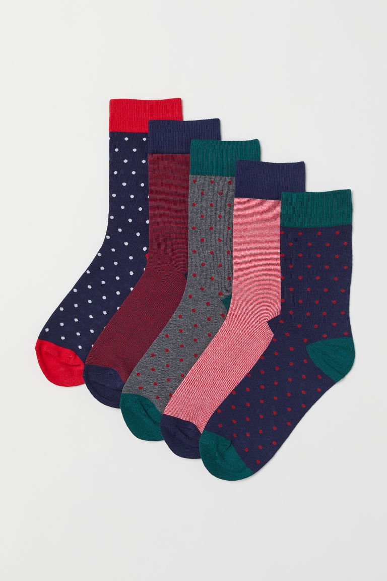 5-pack socks - Dark blue/Spotted -  | H&M